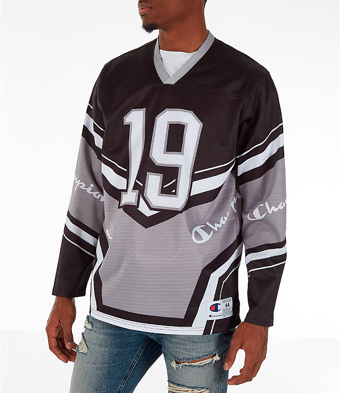 Front Three Quarter view of Men's Champion Hockey Jersey in Black/Grey/White