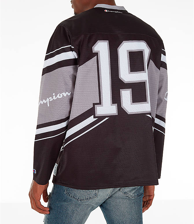 Back Left view of Men's Champion Hockey Jersey in Black/Grey/White