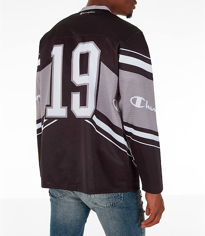 Back Right view of Men's Champion Hockey Jersey in Black/Grey/White