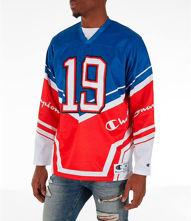 Front Three Quarter view of Men's Champion Hockey Jersey in Red/White/Blue