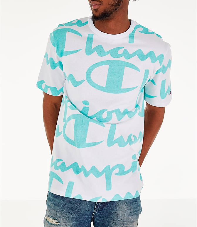 Detail 1 view of Men's Champion Heritage Allover Print Large Script T-Shirt in White/Green