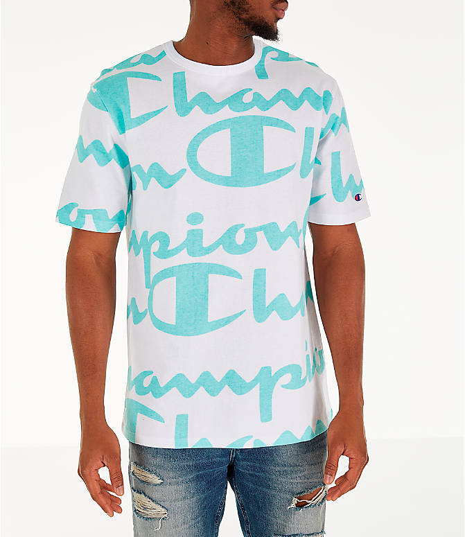 Front view of Men's Champion Heritage Allover Print Large Script T-Shirt in White/Green