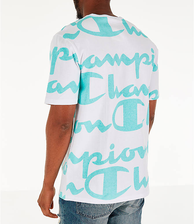 Back Left view of Men's Champion Heritage Allover Print Large Script T-Shirt in White/Green