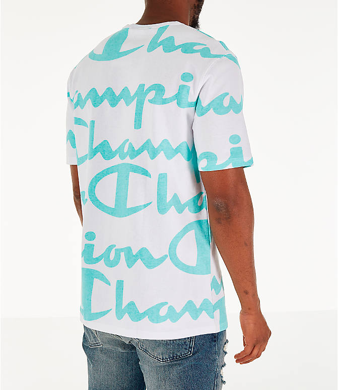 Back Right view of Men's Champion Heritage Allover Print Large Script T-Shirt in White/Green