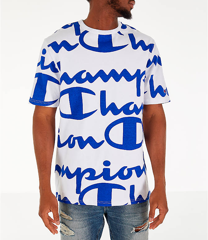 fa7ba9994b3d Front view of Men's Champion Heritage Allover Print Large Script T-Shirt in  White/