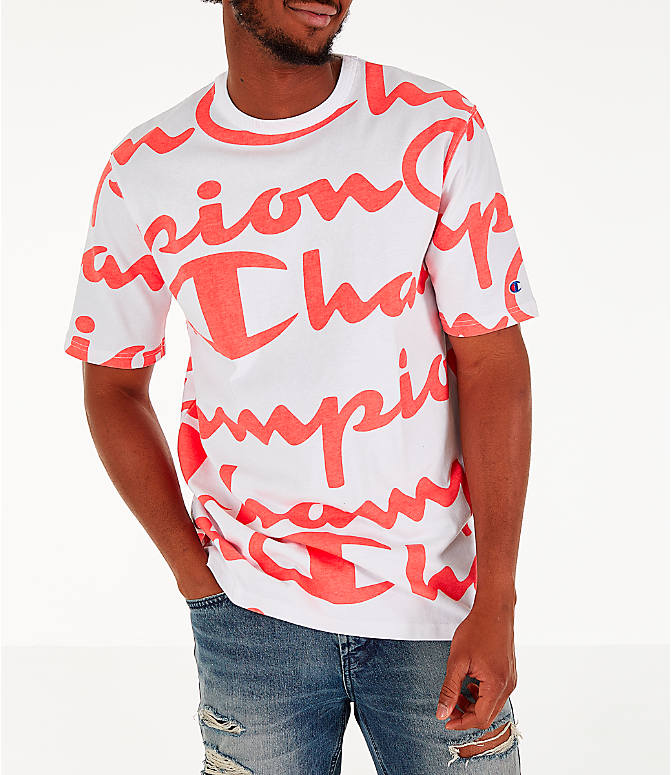 Detail 2 view of Men's Champion Heritage Allover Print Large Script T-Shirt in White/Papaya