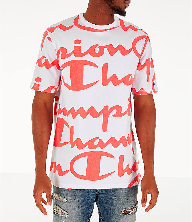Front view of Men's Champion Heritage Allover Print Large Script T-Shirt in White/Papaya