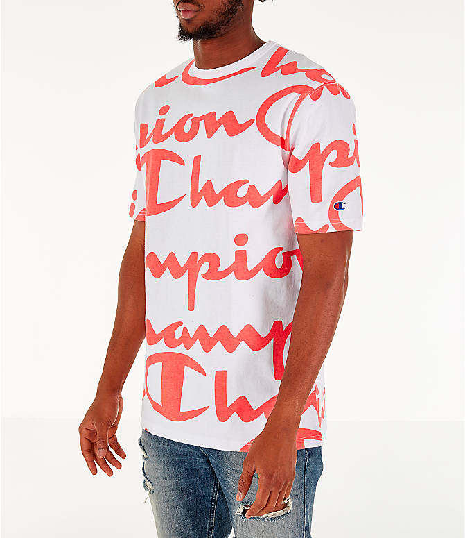 Front Three Quarter view of Men's Champion Heritage Allover Print Large Script T-Shirt in White/Papaya