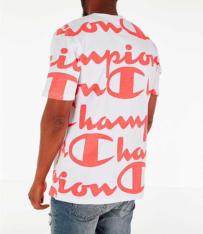 Back Left view of Men's Champion Heritage Allover Print Large Script T-Shirt in White/Papaya