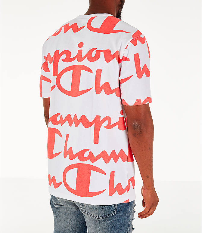 Back Right view of Men's Champion Heritage Allover Print Large Script T-Shirt in White/Papaya