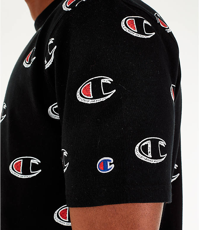 Detail 1 view of Men's Champion Allover Scribble Script Logo T-Shirt in Black
