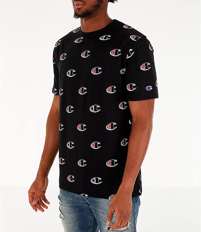 Front Three Quarter view of Men's Champion Allover Scribble Script Logo T-Shirt in Black