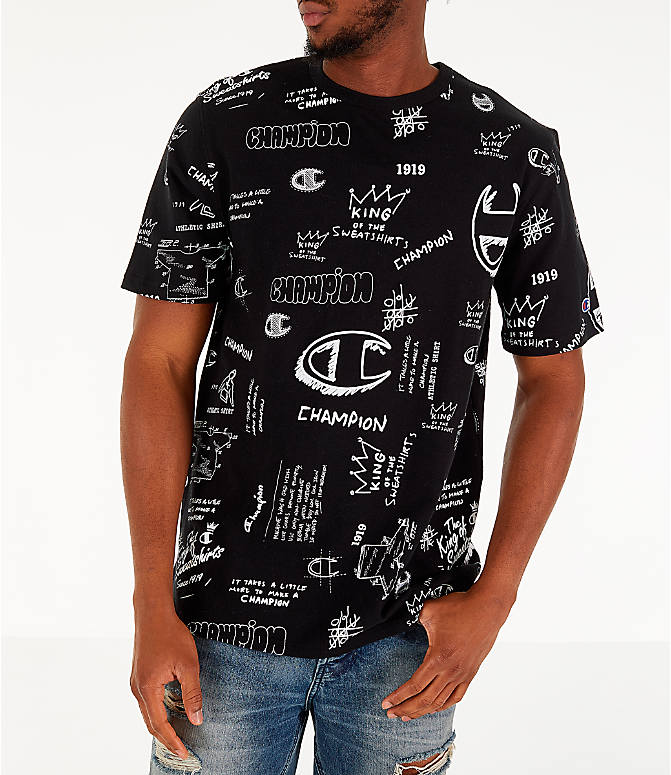 d82448f716f6 Front view of Men's Champion Heritage Scribble Script T-Shirt in Black