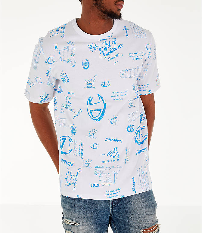 Detail 1 view of Men's Champion Heritage Scribble Script T-Shirt in White