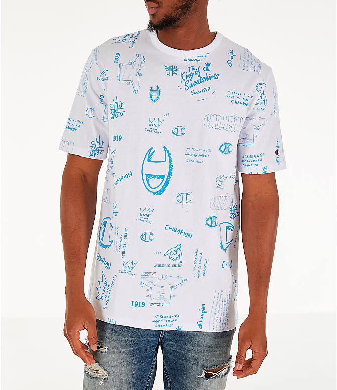Front view of Men's Champion Heritage Scribble Script T-Shirt in White