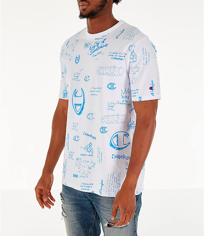 Front Three Quarter view of Men's Champion Heritage Scribble Script T-Shirt in White