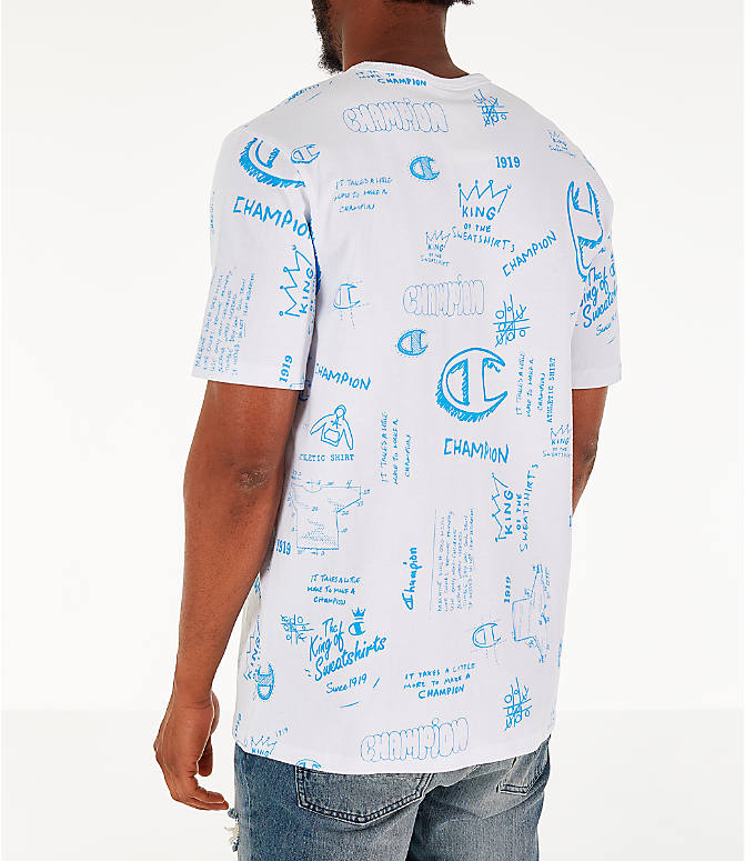 Back Left view of Men's Champion Heritage Scribble Script T-Shirt in White