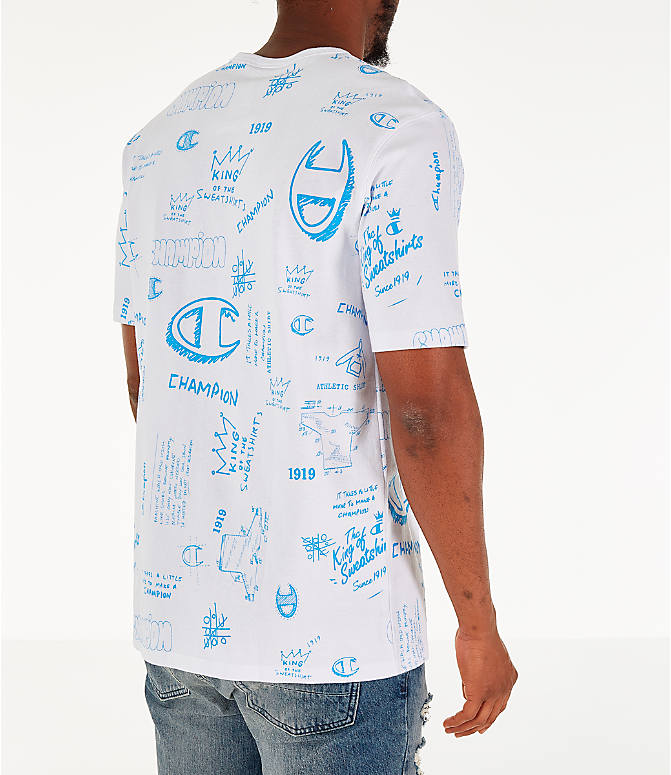Back Right view of Men's Champion Heritage Scribble Script T-Shirt in White