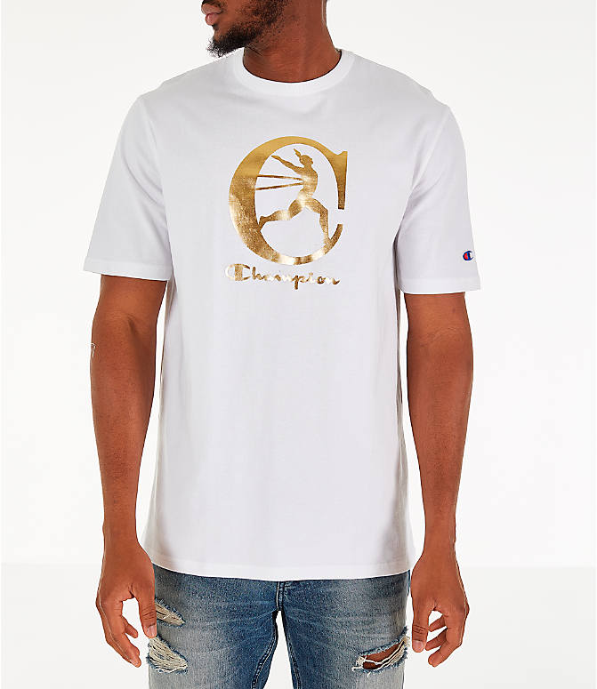 6cf9004a Front view of Men's Champion Metallic Running Man T-Shirt in White/Gold