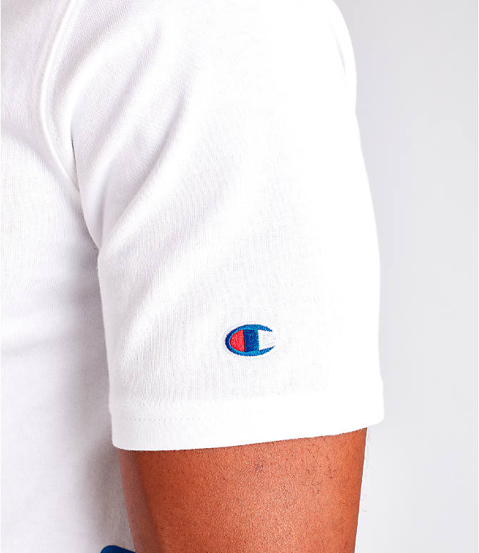 Detail 2 view of Men's Champion Panel Script T-Shirt in White/Blue