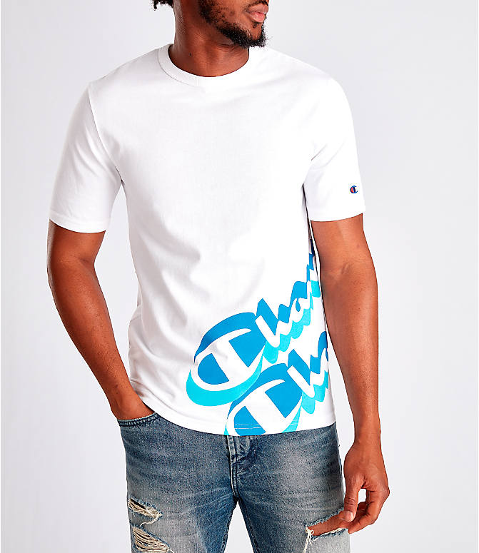 Front view of Men's Champion Panel Script T-Shirt in White/Blue