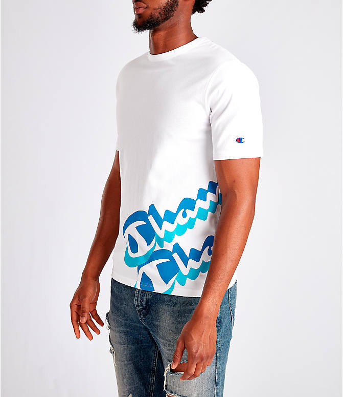 Front Three Quarter view of Men's Champion Panel Script T-Shirt in White/Blue
