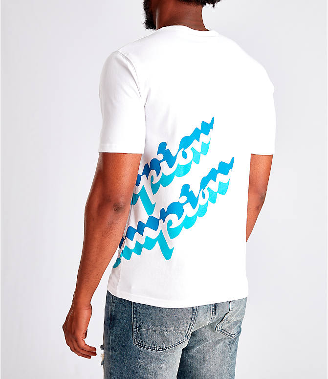 Back Left view of Men's Champion Panel Script T-Shirt in White/Blue