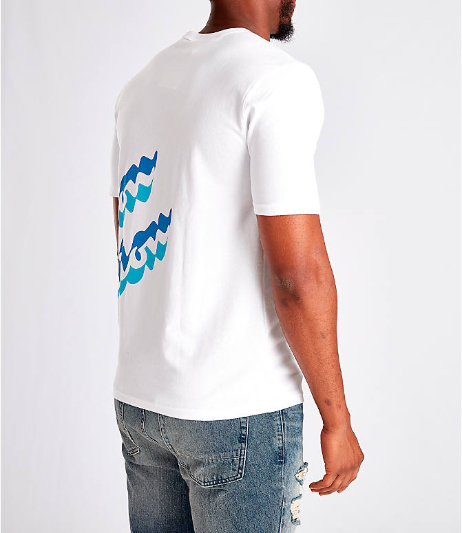 Back Right view of Men's Champion Panel Script T-Shirt in White/Blue