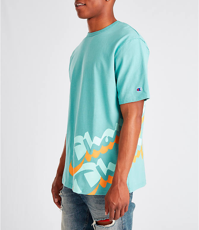 Front Three Quarter view of Men's Champion Panel Script T-Shirt in Eucalyptus Green/Orange