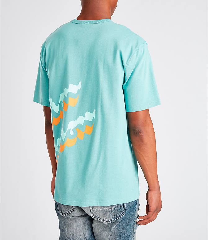 Back Right view of Men's Champion Panel Script T-Shirt in Eucalyptus Green/Orange