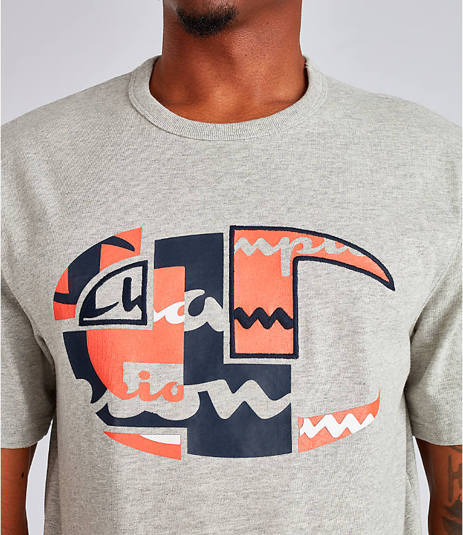Detail 1 view of Men's Champion Big C Patchwork T-Shirt in Oxford Grey