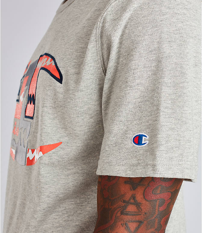 Detail 2 view of Men's Champion Big C Patchwork T-Shirt in Oxford Grey