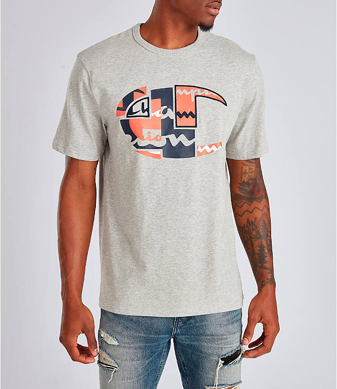 Front view of Men's Champion Big C Patchwork T-Shirt in Oxford Grey