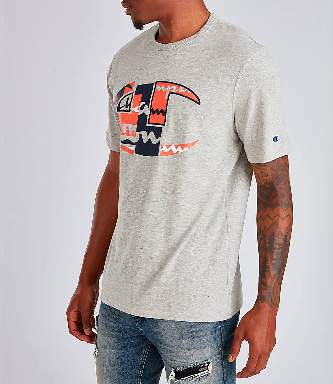 Front Three Quarter view of Men's Champion Big C Patchwork T-Shirt in Oxford Grey