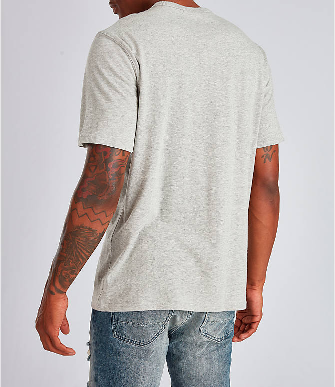 Back Left view of Men's Champion Big C Patchwork T-Shirt in Oxford Grey
