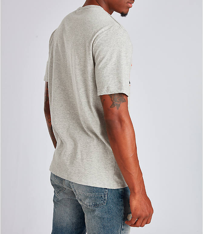 Back Right view of Men's Champion Big C Patchwork T-Shirt in Oxford Grey