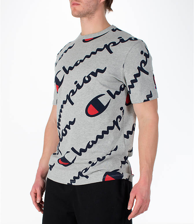 Front Three Quarter view of Men's Champion Heritage All-Over T-Shirt in Oxford Grey