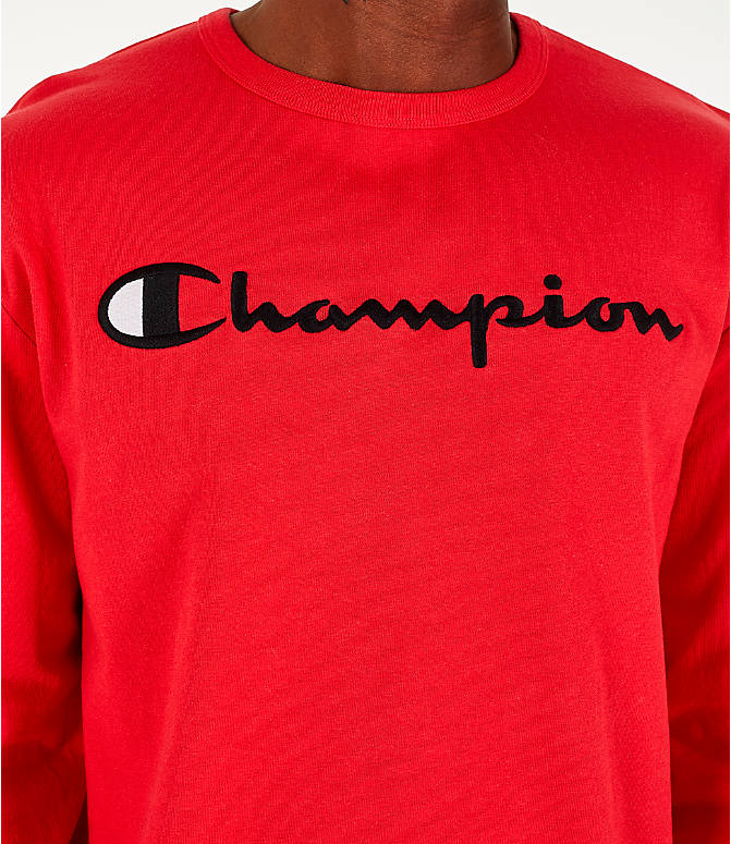 Detail 1 view of Men's Champion Heritage Logo Long Sleeve T-Shirt in Red
