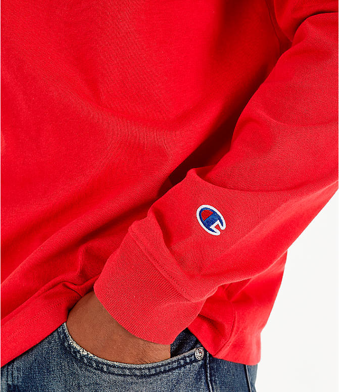 Detail 2 view of Men's Champion Heritage Logo Long Sleeve T-Shirt in Red