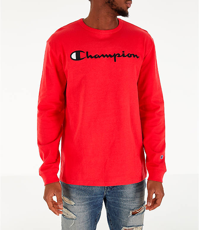 Front view of Men's Champion Heritage Logo Long Sleeve T-Shirt in Red