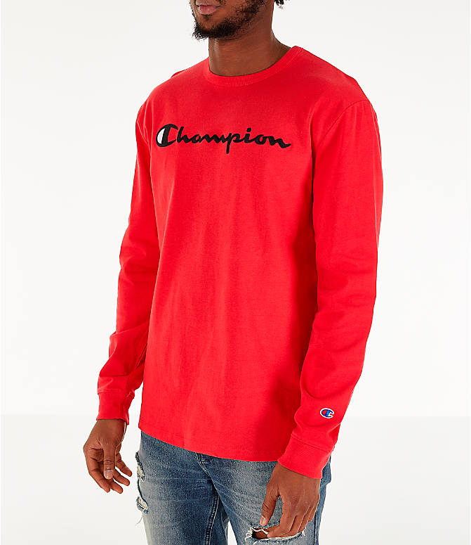 Front Three Quarter view of Men's Champion Heritage Logo Long Sleeve T-Shirt in Red