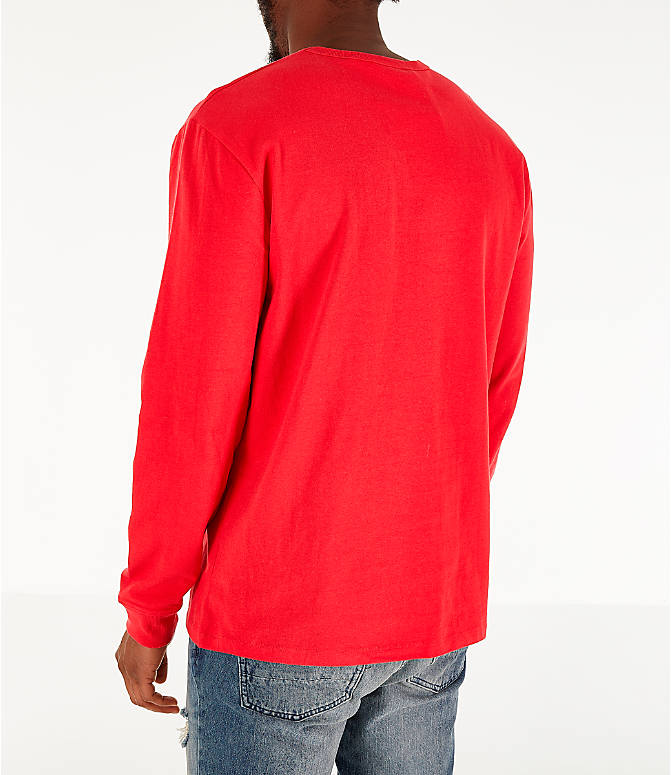 Back Left view of Men's Champion Heritage Logo Long Sleeve T-Shirt in Red