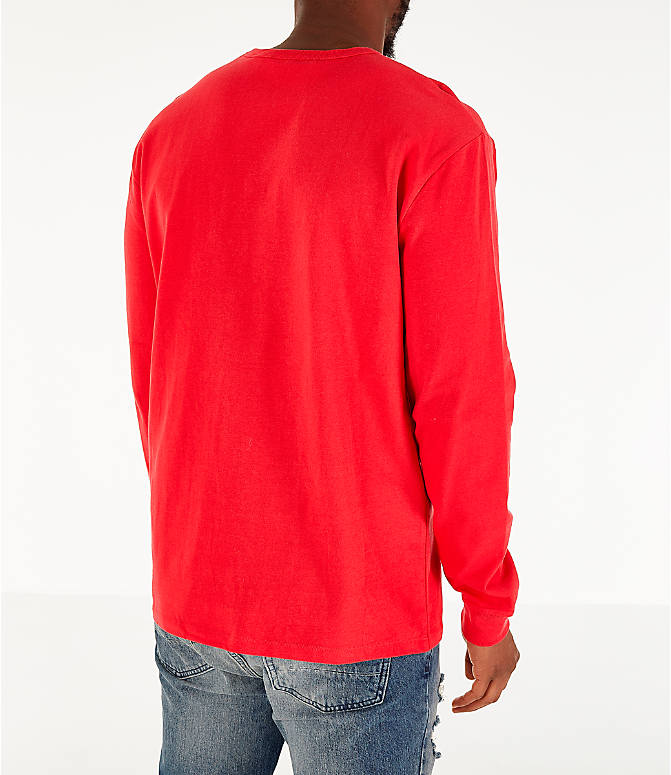 Back Right view of Men's Champion Heritage Logo Long Sleeve T-Shirt in Red