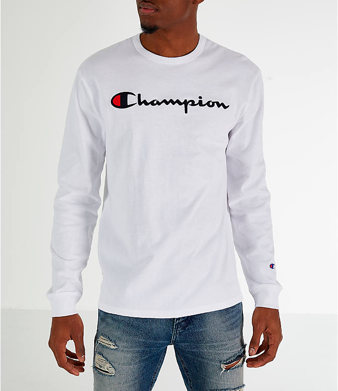 Front view of Men's Champion Heritage Logo Long Sleeve T-Shirt in White