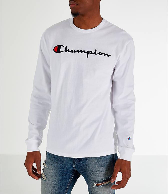 Front Three Quarter view of Men's Champion Heritage Logo Long Sleeve T-Shirt in White