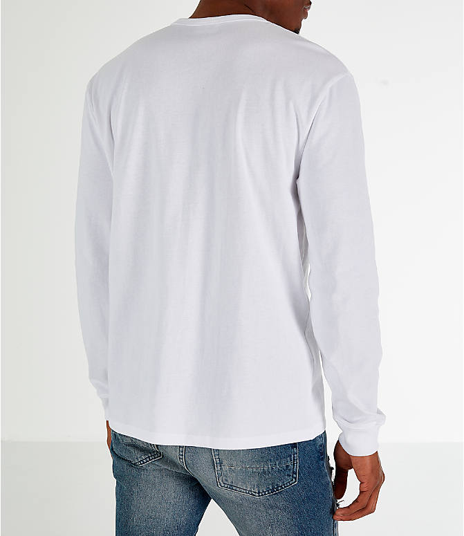 Back Right view of Men's Champion Heritage Logo Long Sleeve T-Shirt in White