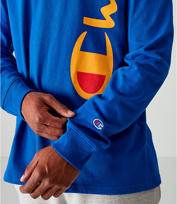 Detail 1 view of Men's Champion Heritage Script Long-Sleeve T-Shirt in Royal