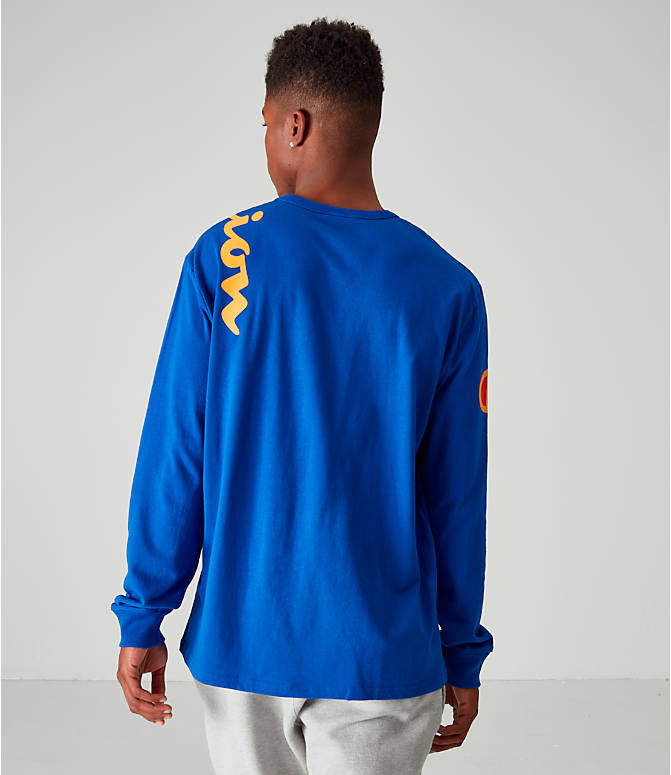 Back Right view of Men's Champion Heritage Script Long-Sleeve T-Shirt in Royal