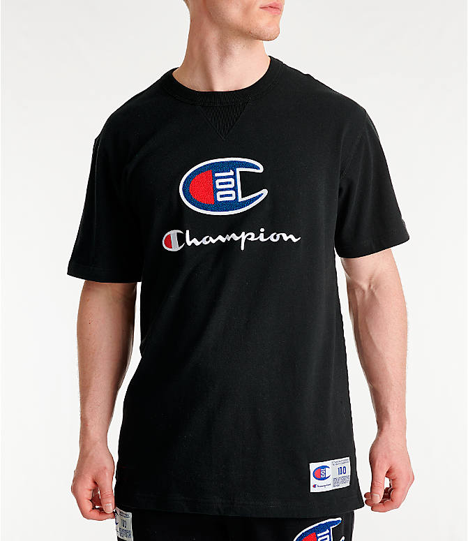 Front view of Men's Champion Century Collection Chenille Logo T-Shirt in Black