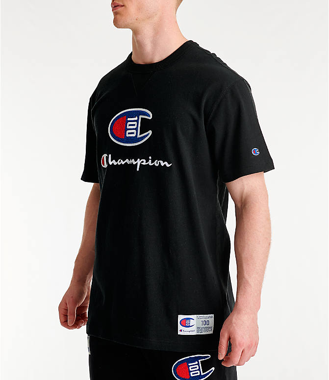 Front Three Quarter view of Men's Champion Century Collection Chenille Logo T-Shirt in Black